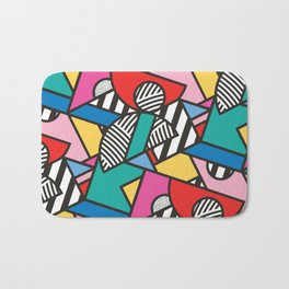 Colorful Memphis Modern Geometric Shapes - Tribal Kente African Aztec Bath Mat
