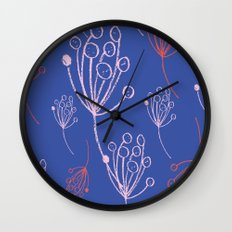 floral blue chalk contemporary Wall Clock