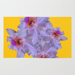 WHITE-PURPLE ORCHIDS YELLOW GARDEN Rug
