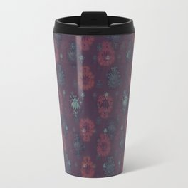 Lotus flower patchwork with green border, woodblock print style pattern Travel Mug