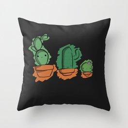 Cute Cactai Family Throw Pillow