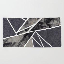 black and white flower Beach Towel