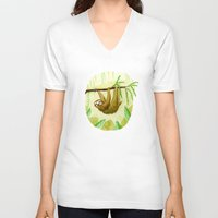 sloth V-neck T-shirts featuring Sloth by Kirsten Sevig