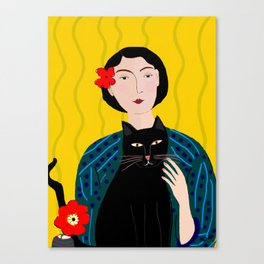 Lady with Black Cat Canvas Print