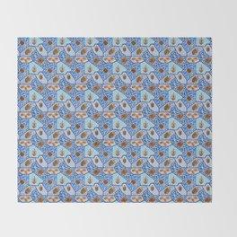 Hanukkah Dreidel Mosaic in Dark Blues Throw Blanket