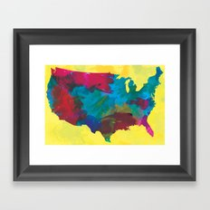 Watercolor U.S.A. Map Framed Art Print
