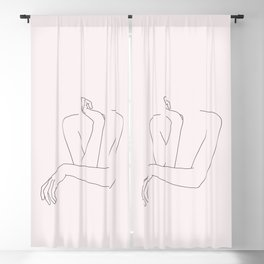 Woman's crossed arms line drawing - Anna Natural Blackout Curtain