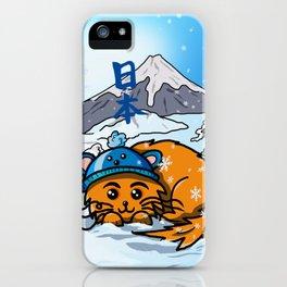 Cute cartoon cat in the snow at Mount Fuji iPhone Case
