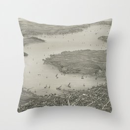 Vintage Pictorial Map of Lake Geneva WI (1882) Throw Pillow