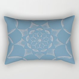 Dot Mandala Dark Blue - 3D Pointilism Rectangular Pillow