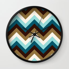 Funky Zigzag Pattern Teals Brown Gold Cream Wall Clock