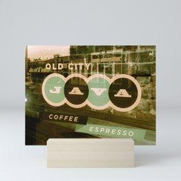 Old City Java Sign in Mint Mini Art Print