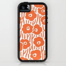 Mid Century Modern Wild Flowers Pattern Orange iPhone Case