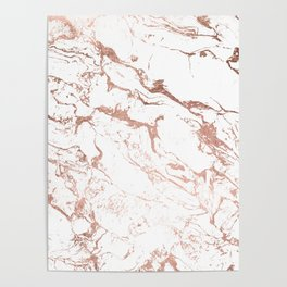 Modern chic faux rose gold white marble pattern Poster