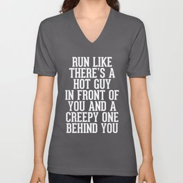 Hot Guy In Front Funny Running Quote Unisex V-Neck