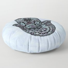 Watercolor Blue Pink Hamsa Hand Floor Pillow