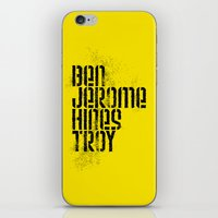 caleb troy iPhone & iPod Skins featuring Ben Jerome Hines Troy / Gold by Brian Walker