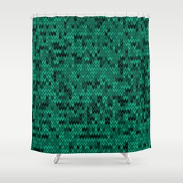 Green knitted textiles Shower Curtain