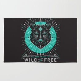 Wild & Free Wolf – Turquoise & Grey Rug