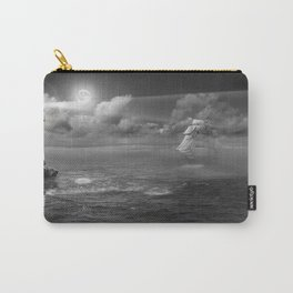 Lighthouse and Sailboat under moonlight Carry-All Pouch