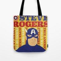 steve rogers Tote Bags featuring Steve Rogers/Captain America by Joseph Rey Velasquez