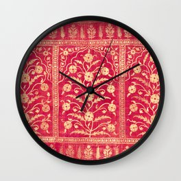 Oriental Rouge Floral Wall Clock