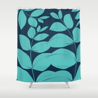 aelwen Shower Curtains featuring Aqua Leaves by Aelwen
