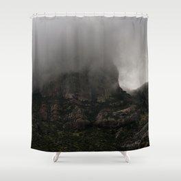 Foggy Chisos Mountaintop, Big Bend - Landscape Photography Shower Curtain
