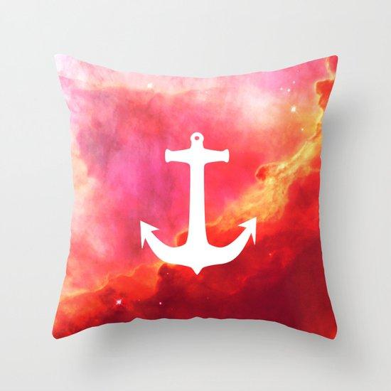 Galaxy Nebula Pink Retro White Nautical Anchor Throw Pillow