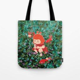 Girl Picking Wild Flowers Tote Bag