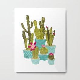 Cactus Pots Metal Print