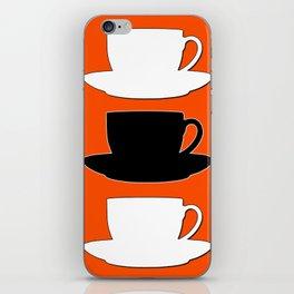 Retro Coffee Print - Black & White Cups on Burnished Orange Background iPhone Skin