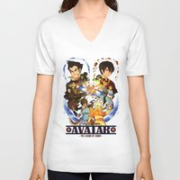 avatar the last airbender V-neck T-shirts featuring Team Avatar by Willow