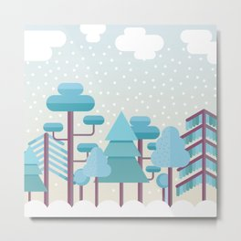 Snowy Winter Forest Metal Print