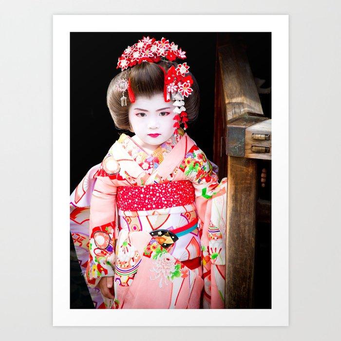 Japanese geisha girl Art Print