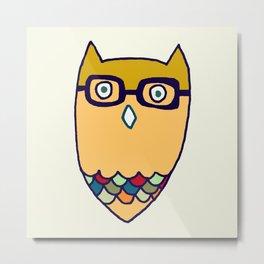 Owl hipster Metal Print