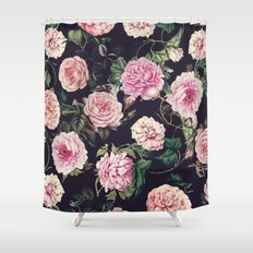 Dark Floral Pattern Shower Curtain