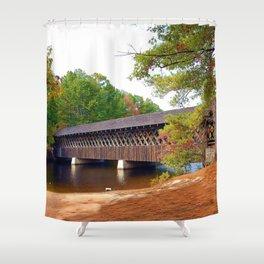 Georgia Stone Mountain Covered Bridge Shower Curtain