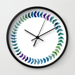 Watercolor Blue Gradient Floral Wreath Wall Clock