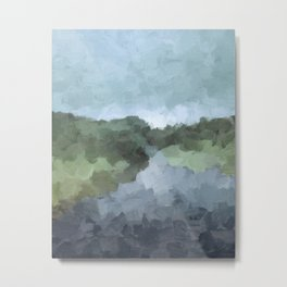 Seafoam Skies Forest Green Navy Indigo River Abstract Nature Painting Art Print Wall Decor  Metal Print
