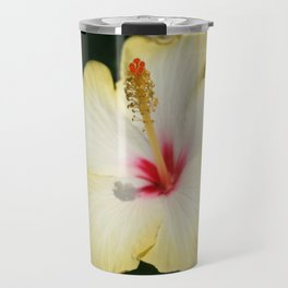 Yellow Hibiscus With Garden Background  Travel Mug