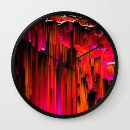 En Rouge - Abstract Glitch Pixel Art Wall Clock