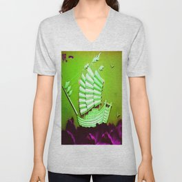 Asian Battle Ship Unisex V-Neck