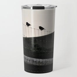 with a cross on the hill Travel Mug