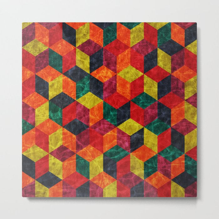 Colorful Isometric Cubes IV Metal Print