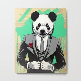Panda Head Metal Print