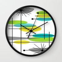 mid century modern Wall Clocks featuring Mid-Century Modern Atomic Design by Kippygirl