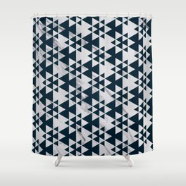 Southwestern Triangle Design over White Grey Marble Shower Curtain