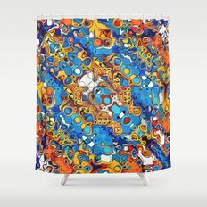 Orange And Blue Abstract Shower Curtain
