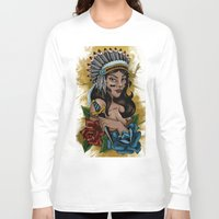 indian Long Sleeve T-shirts featuring Indian by LadyFingerIllustration